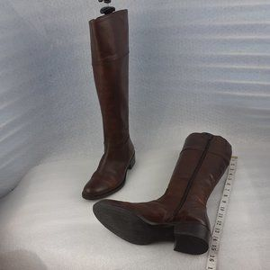100%LEATHER BROWN full zip tall riding boot us6